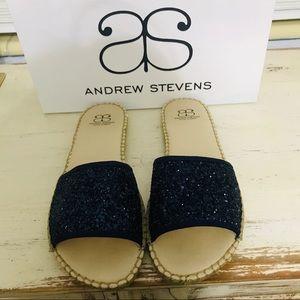Andrew Stevens Navy Glitter Slide Sandals